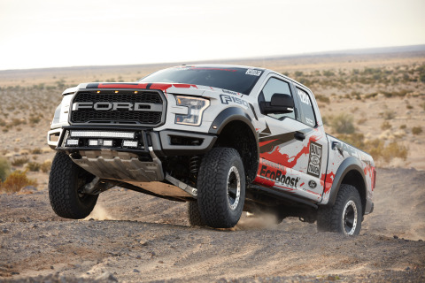 The all-new 2017 F-150 Raptor race truck continues Ford's tradition of demonstrating the toughness a ...