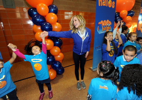"""Actress, designer and mother Kristin Cavallari celebrates a day of """"pure goodness"""" by leading a fitness activity and delivering Wonderful Halos mandarins to kids at the Boys & Girls Club of New York on Tuesday, February 2, 2016 in New York City. In its second year partnership with Boys & Girls Clubs of America, Wonderful Halos – the sweet, seedless and easy to peel snack – is donating $100,000 to support healthy lifestyle and fitness programs at Boys & Girls Clubs across the country. (Photo by Brad Barket/Getty Images for Wonderful Halos)"""