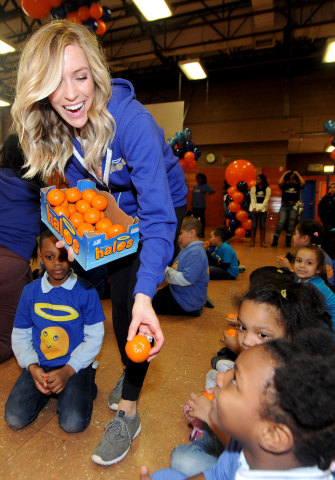 "Actress, designer and mother Kristin Cavallari celebrates a day of ""pure goodness"" by leading a fitness activity and delivering Wonderful Halos mandarins to kids at the Boys & Girls Club of New York on Tuesday, February 2, 2016 in New York City. In its second year partnership with Boys & Girls Clubs of America, Wonderful Halos – the sweet, seedless and easy to peel snack – is donating $100,000 to support healthy lifestyle and fitness programs at Boys & Girls Clubs across the country. (Photo by Brad Barket/Getty Images for Wonderful Halos)"