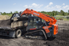 With a 3,200-lbs. rated operating capacity, over 40 inches of reach, and hydraulic flow rates ranging from five to 40 gpm, the new Kubota SVL95-2s has the muscle to handle heavy-duty lifting and loading chores, and the versatility to handle a variety of other work assignments such as plowing, snow-blowing, drilling or trenching. (Photo: Business Wire)