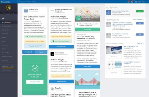 Student dashboard view for Handshake network. www.joinhandshake.com. (Graphic: Business Wire)