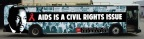 """AHF's """"AIDS Is A Civil Rights Issue""""-wrapped bus will tour to parades, film festivals, community events in California during February's Black History Month. (Graphic: Business Wire)"""