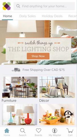wayfair inc wayfair debuts popular mobile shopping app in canada u k and germany. Black Bedroom Furniture Sets. Home Design Ideas