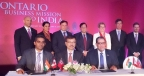 The Honorable Kathleen Wynne, Premier of Ontario, is seen standing third from right. Mr. Bhupendra Bhate, Chief Delivery Officer of Industrial Products, Process Industry, Medical, Mechanical & Embedded Horizontals at L&T Technology Services is seated (Centre) along with Mr Hari Subramaniam, CEO, eCamion Inc to his right and Mr Mohamed Lachemi, Interim President, Ryerson University.(Photo: Business Wire)