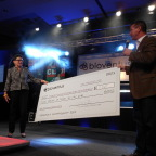 Phyllis Jendrusch of Dress for Success, San Antonio Accepts a Check for $11,160 from Jeff Acuff of Bioventus (Photo: Business Wire)