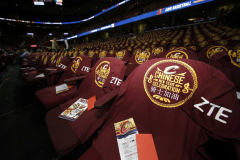 ZTE celebrated the Chinese New Year with the Cleveland Cavaliers at their home game. (Photo: Busines ...