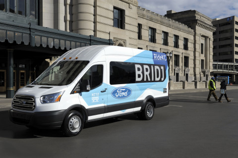 The Ride KC: Bridj pilot program will use a fleet of Ford Transit vans to augment and serve as a gateway to other forms of transit. Many pick-up locations will be at bus stops and areas served by existing Kansas City transit and bike-share systems. (Photo: Business Wire)