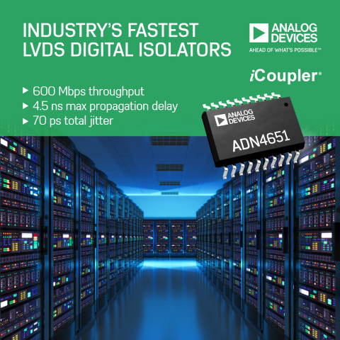 Performance, Reliability and Measurement Confidence in Harsh Industrial Environments Improved with Industry's Fastest LVDS Digital Isolators (Graphic: Business Wire)