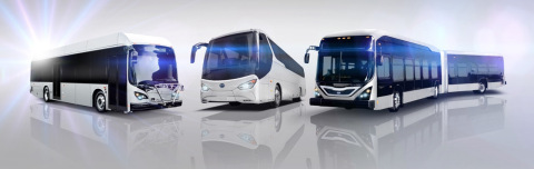 BYD Motors will build an all-electric 40 ft. low floor transit bus, a 60 ft. low floor articulated bus, and a 45 ft. commuter coach bus for the AVTA. (Graphic: Business Wire)