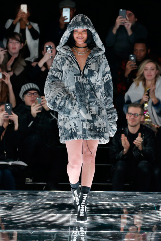 Rihanna walks the runway at the Fenty PUMA by Rihanna show during the Fall 2016 New York Fashion Week in New York on February 12, 2016. (Photo: Business Wire)