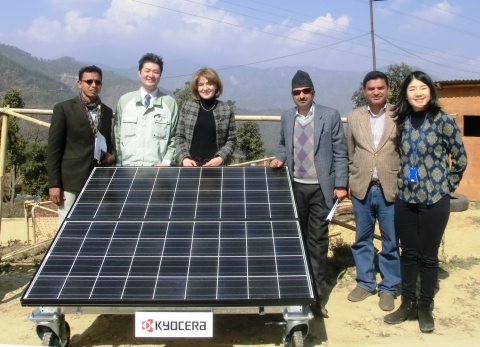 Kyocera employee delivering solar power generating systems to Sindhupalchowk District in Nepal to support earthquake reconstruction (Photo: Business Wire)