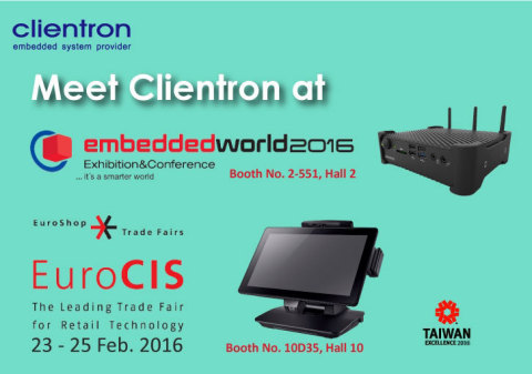 Clientron exhibiting at EuroCIS and Embedded World 2016 (Graphic: Business Wire)