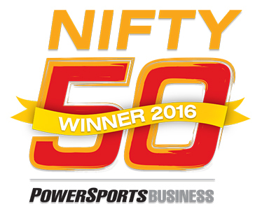 EFG Companies charts the Powersports Business Nifty 50 list for the second year in a row with their WALKAWAY product for motorcycle dealers. (Graphic: Business Wire)