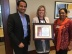Karla Wallace, Director – Central Engineering, UTC Aerospace Systems, holds the Productivity Award with Abhijith Srinivas, Account Director, L&T Technology Services and Susan Wilson Group Head Delivery, Platinum Account, at L&T Technology Services. (Photo: Business Wire)