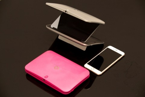 3D Box-an innovative glasses-free 3D device in pink and silver colour. It utilizes SuperD's eye-trac ...