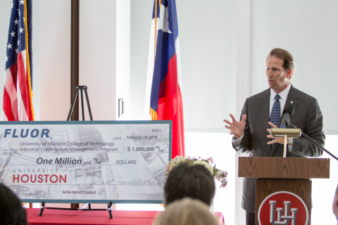 Fluor Chairman and CEO David Seaton presents a $1 million check to the University of Houston to establish the Industrial Construction Management Education Partnership, focusing on research and professional development. (Photo: Business Wire)