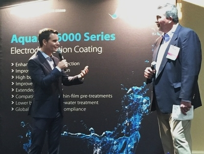 Special guest Jeff Gordon introduces Axalta's new AquaEC 6100 Electrodeposition coating. (Photo: Axalta)