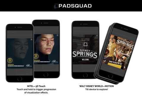 PadSquad Adds New Dimension to Mobile Rich Media with 3D Touch, Haptic & Motion Technologies. (Photo: Business Wire)