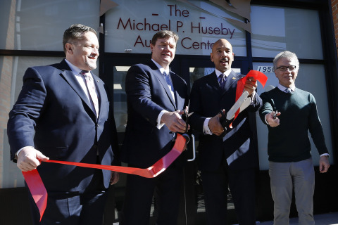 Michael P. Huseby, executive chairman of Barnes & Noble Education, cuts the ribbon at the Quality Se ...