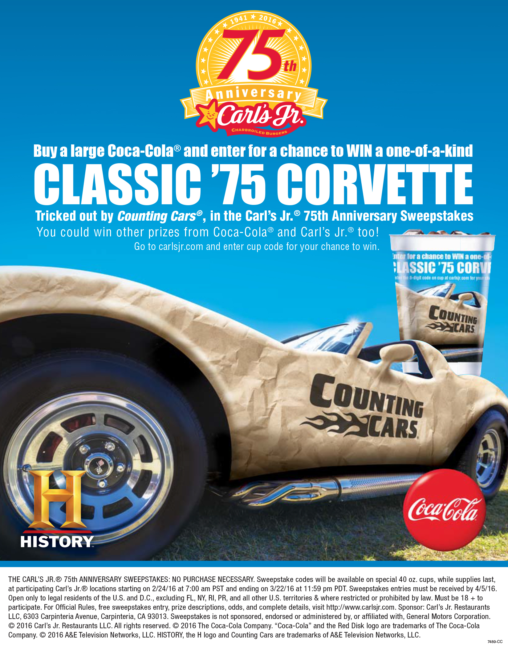 HISTORY And Carls Jr Celebrate Popular Burger Chains Th - Carl's cool cars
