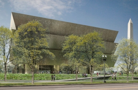 A rendering of the Smithsonian National Museum of African American History and Culture scheduled to open Sept. 24 in Washington D.C. Courtesy: Freelon Adjaye Bond/SmithGroup