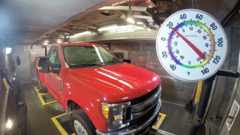Ford's eight mobile climate and road simulators are completely portable, allowing the company to efficiently test prototype vehicles; one unit was moved to Kentucky Truck Plant to conduct noise testing of the all-new Super Duty. (Photo: Business Wire)