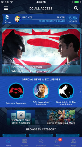 New DC All Access app homescreen. (Photo: Business Wire)