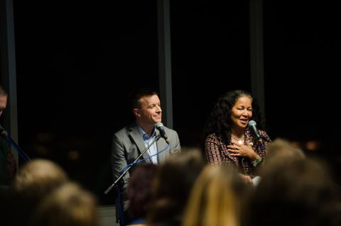 Panelists Dave Cutler and Pamela Banks. Credit: Jane Gershovich