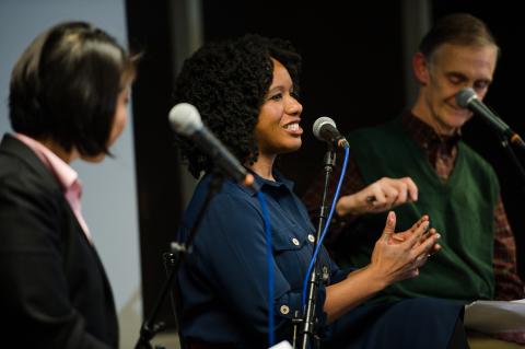 Moderator Natasha Chen and panelists Nela Richardson and Ed Lazowska. Credit: Jane Gershovich
