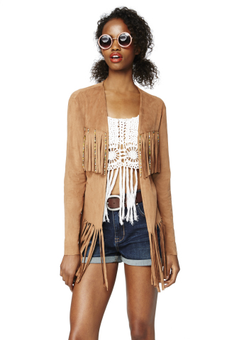 American Rag Suede Fringe Jacket, $99.50; American Rag Denim Shorts, $44.50, American Rag Crochet Fringe Tank, $39.50, all exclusively at select Macy's stores and on macys.com (Photo: Business Wire)