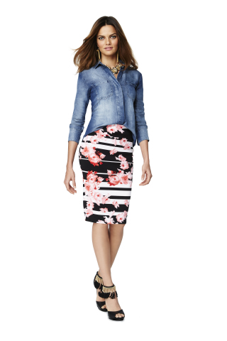 Thalia Sodi Chambray Shirt, $59.50; Thalia Sodi Scuba Skirt, $49.50; Thalia Sodi Tassel Heel, $99.50, all exclusively at select Macy's stores and on macys.com (Photo: Business Wire)
