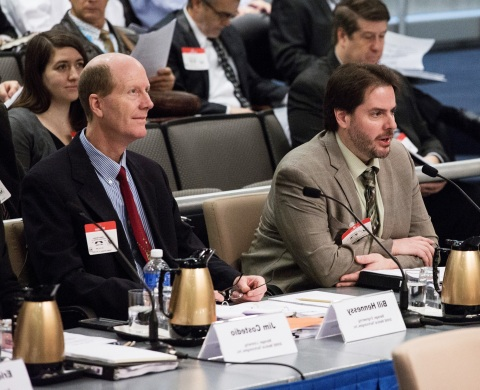 SHINE Plant Manager, Bill Hennessy (left), with CEO and Founder, Dr. Greg Piefer (right), testifying before the Nuclear Regulatory Commission at SHINE's mandatory hearing in December 2015. (Photo: Business Wire)