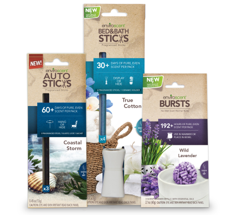 Made with natural ingredients, the new EnviroScent Bursts, EnviroScent AutoSticks and EnviroScent Bed & Bath Sticks offer an alternative to chemical-laden home fragrances. (Photo: Business Wire)