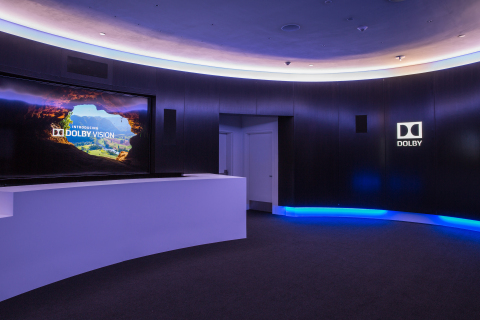 In this photo provided by Dolby Laboratories, the Dolby Lounge inside the Dolby Theatre features a state-of-the-art home theater system with a 120-inch Vizio Reference series TV with Dolby Vision and Dolby Atmos 7.1.4 surround sound system. Oscar winners and Hollywood's elite gather and relax in a space that celebrate's Dolby's cinema heritage and role in enhancing the Oscars experiences. The 88th Academy Awards is hosted at the Dolby Theatre on February 28, 2016.