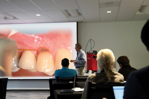 Dr. Michael Koceja instructs laser education for the World Clinical Laser Institute held at the new BIOLASE Learning Center. (Photo: Business Wire)