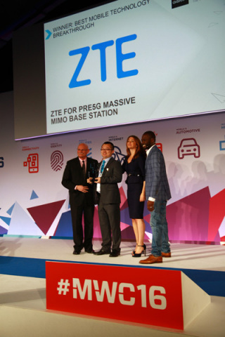ZTE Wins Global Mobile Award for Pre5G Massive MIMO at MWC 2016 (Photo: Business Wire)