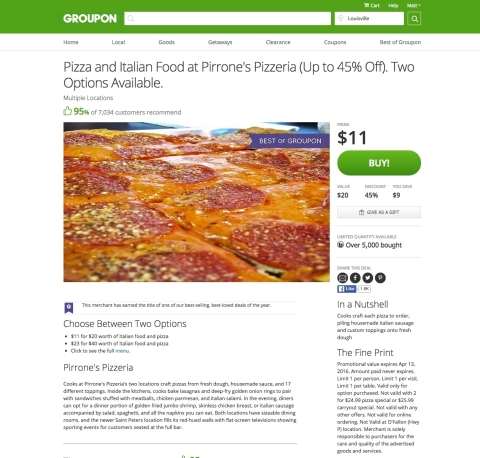 The billionth Groupon sold was an $11 for $20 promotion for pizza and Italian food at Pirrone's Pizzeria in the St. Louis area. (Graphic: Business Wire)