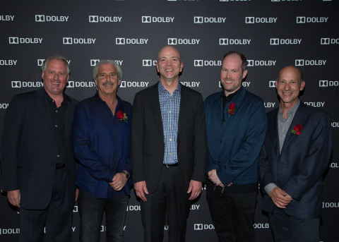 In this photo provided by Dolby Laboratories, Kevin Yeaman (center), President and CEO of Dolby Laboratories, stands with the 88th Academy Award nominees in the Best Sound Editing and Sound Mixing categories from left to right, Paul Massey, sound mixer of 'The Martian,' Alan Robert Murray, sound editor of 'Sicario,' Oliver Tarney, sound editor of 'The Martian,' and Lon Bender, sound editor of 'The Revenant,' at the Dolby Laboratories Oscar's Sound nominee celebration on February 25, 2016.