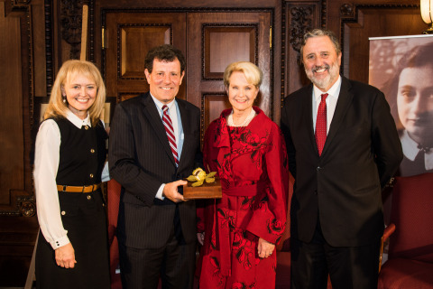 Katrina Lantos Swett, Nicholas Kristof, Cindy McCain and Dutch Ambassador Henne Schuwer at the Anne Frank Award ceremony. (Photo: Business Wire)