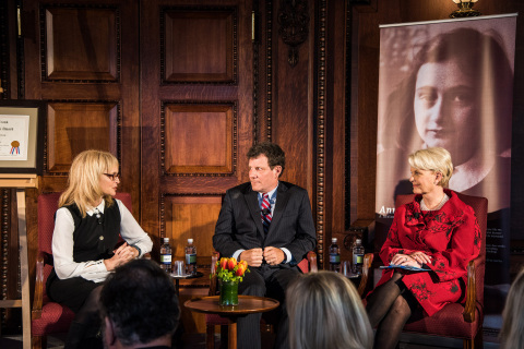 Katrina Lantos Swett, Nicholas Kristof and Cindy McCain discuss combatting human trafficking at the Anne Frank Award ceremony. (Photo: Business Wire)