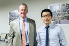 U.S. Army General (Ret.) Stanley McChrystal and FiscalNote CEO Tim Hwang pose after a recent FiscalNote board of directors meeting, during which McChrystal was officially welcomed to the board. McChrystal is taking a greater role with FiscalNote, after having been a company advisor since 2014. (Photo by Mandy Shen)