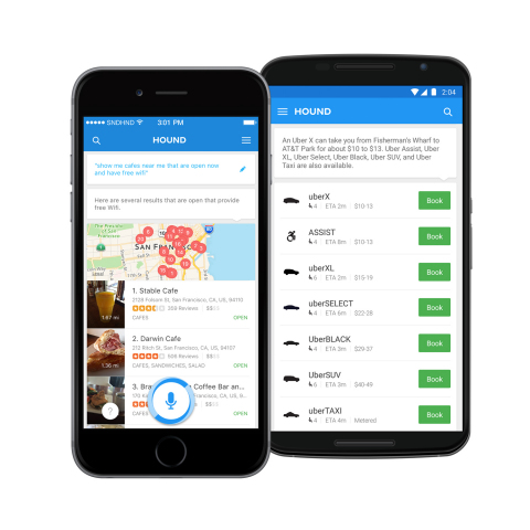 Use Hound to get specific with Yelp search, or book an Uber, hands-free (Graphic: Business Wire)