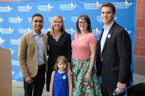 Children's Hospital Los Angeles kicked off its Make March Matter fundraising campaign on Tuesday, March 1. The month-long campaign goal is to raise $1 million. (FROM L to R): Patient Hazel Hammersley (front) joined in on the fun, along with Ranjan Goswami, vice president, Sales – West for Delta Air Lines, and a member of the CHLA Board of Trustees; DeAnn Marshall, senior vice president and chief development officer at CHLA; Lauren Hammersley; Luc Robitaille, Los Angeles Kings. (photo courtesy CHLA)