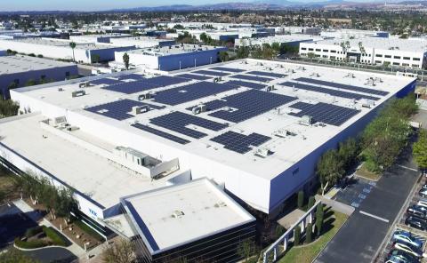 Mitsubishi Electric solar modules cover YKK (U.S.A.) Inc.'s facility in Anaheim, California. (Photo: Business Wire)