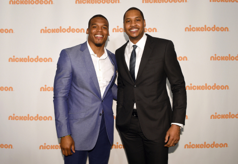 Cam Newton and Carmelo Anthony at the 2016 Nickelodeon Upfront. (Photo: Business Wire)