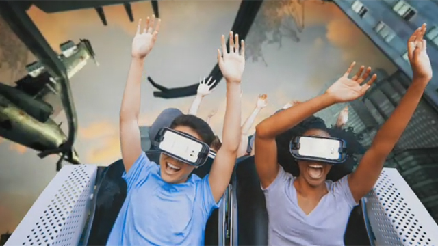 Six Flags Magic Mountain - The New Revolution Virtual Reality Coaster B-roll (split screen)