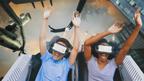 Six Flags Magic Mountain - The New Revolution Virtual Reality Coaster B-roll (split screen)