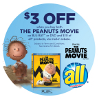 A $3 mail-in rebate with the purchase of The Peanuts Movie DVD or BLU-RAY(TM) and $10 of any all(R) products via online promotion