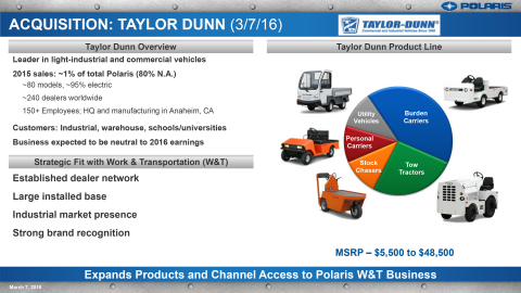 Polaris acquires Taylor-Dunn, the leader in light-industrial and commercial vehicles (Graphic: Business Wire).