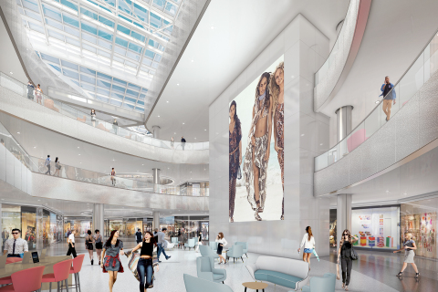 Beverly Center's re-imagined Center Court features a continuous skylight ribbon that will bathe the center in natural light (Photo: Business Wire)